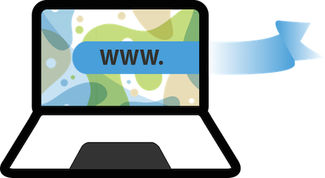 laptop shape & WWW ribbon: remodelling websites