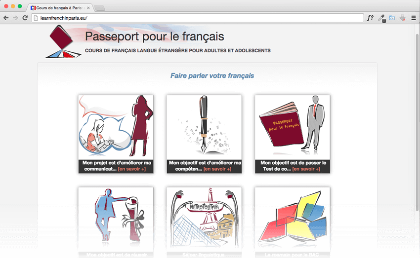 screenshot promoted website: learnfrenchinparis.eu